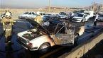 متواری شدن راننده وانت پس از واژگونی و آتشسوزی خودرو در جاده خاوران + عکس