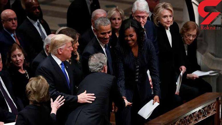 دردسر  کنار هم نشستن ترامپ، اوباما، کلینتون و کارتر در مراسم ترحیم جورج بوش پدر +عکس