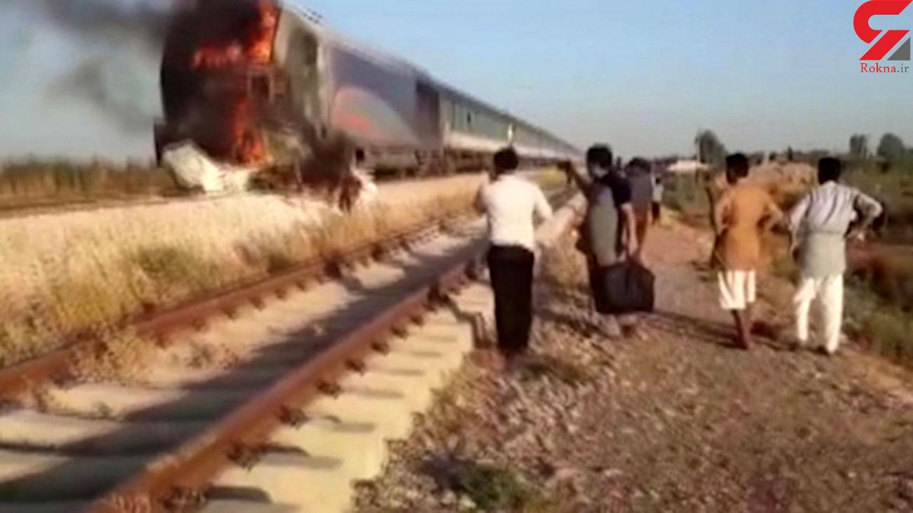 فیلم زنده زنده سوختن 3 پژو سوار در تصادف با قطار در شوش