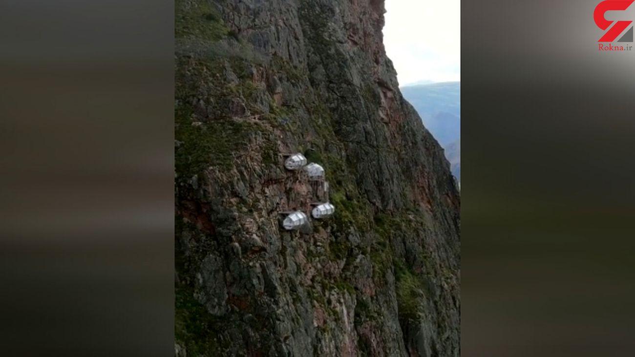تنها هتل کابینی دنیا روی یک کوه سنگی + فیلم