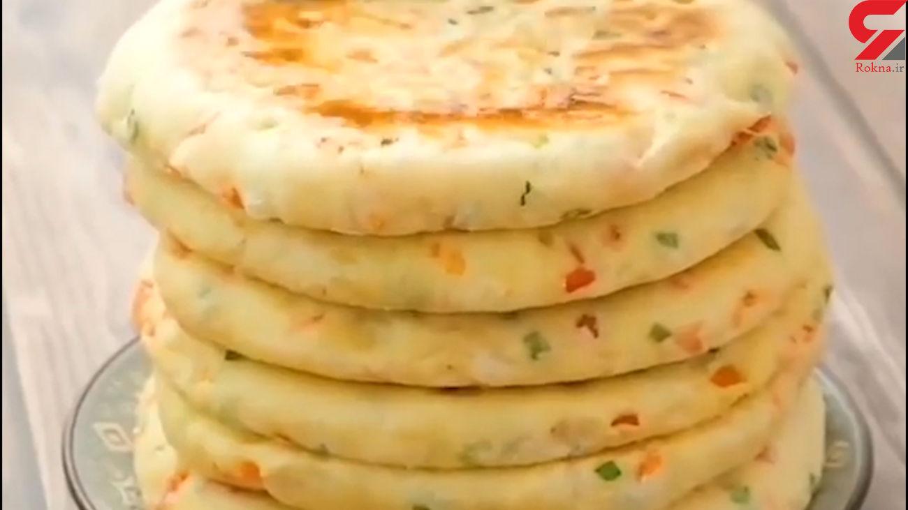نان سبزیجات خانگی + فیلم تهیه