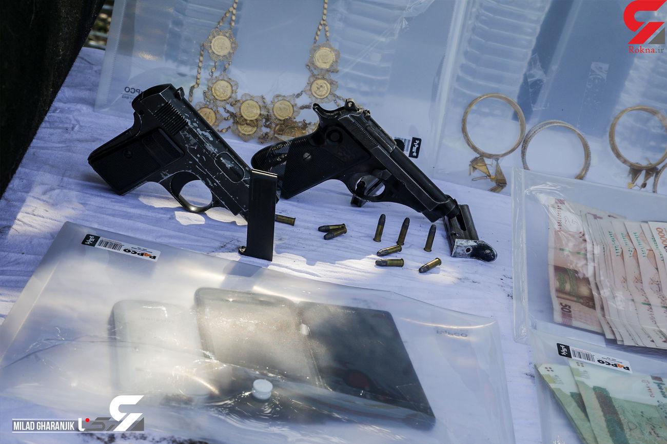شلیک دقیق پلیس به سارق مسلح / مامور پلیس تهرا ن هم تیر خورد + عکس و فیلم
