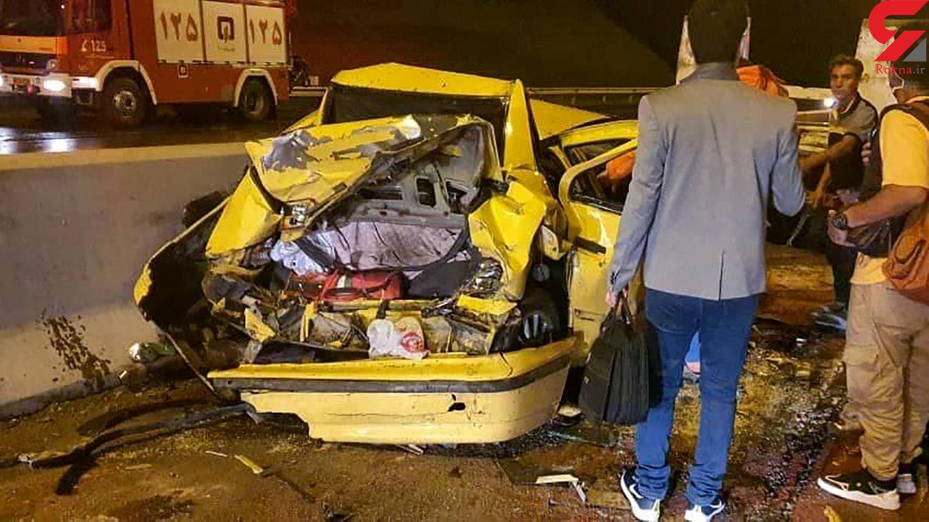 تریلی 5 ماشین را قیچی کرد / در اتوبان پردیس رخ داد + عکس ها