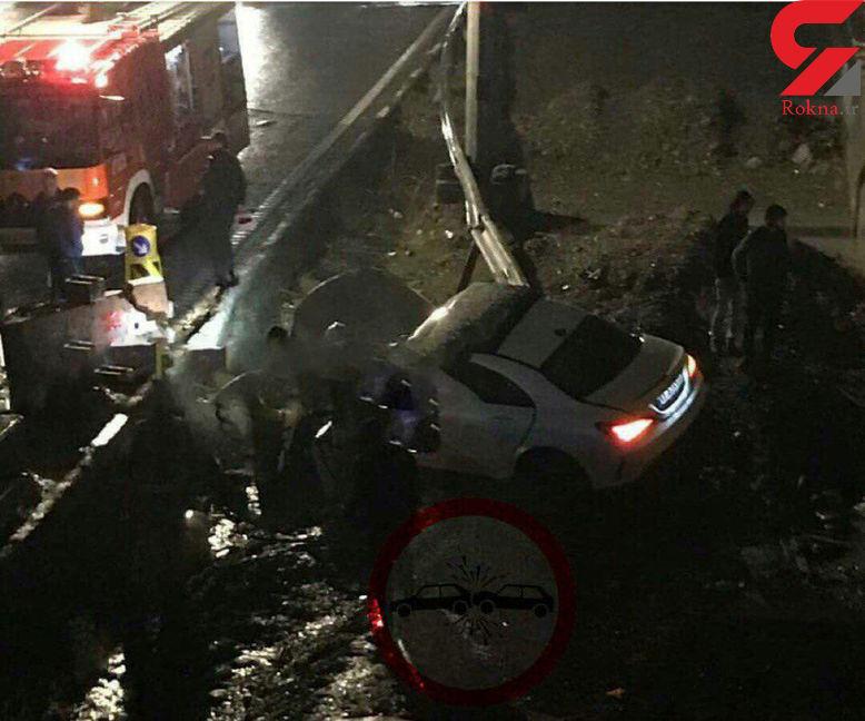 تصادف سریعترین خودروی 4 درب ایران در تهران + عکس لحطه حادثه