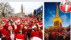 بابا نوئل ها شهر لندن به استقبال کریسمس رفتند+ عکس