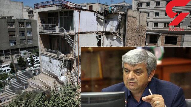 ریزش ساختمان اداری در خیابان گیشا