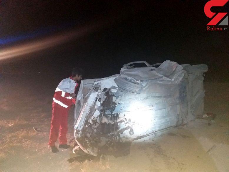 مرگ دردناک راننده تیبا پس از واژگونی در قوچان