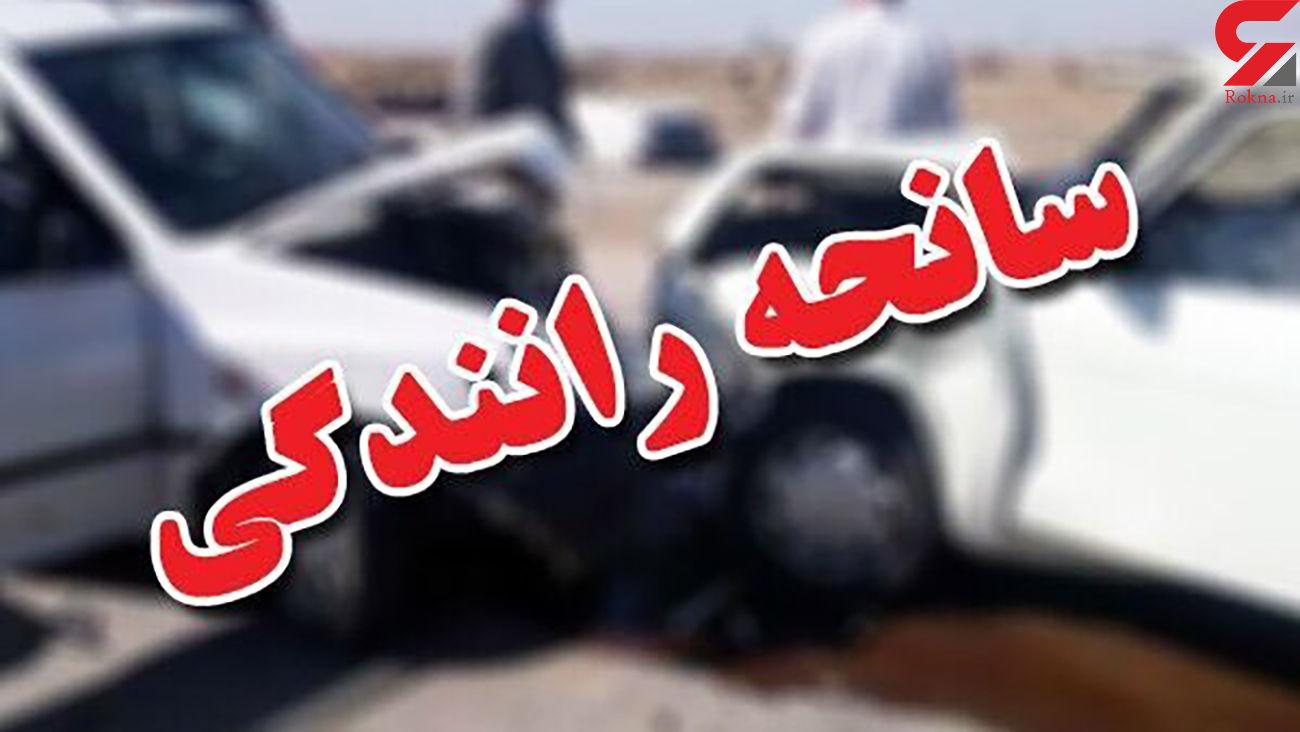 تصادف شدید پژو و ساینا با گاردریل های اتوبان زین الدین