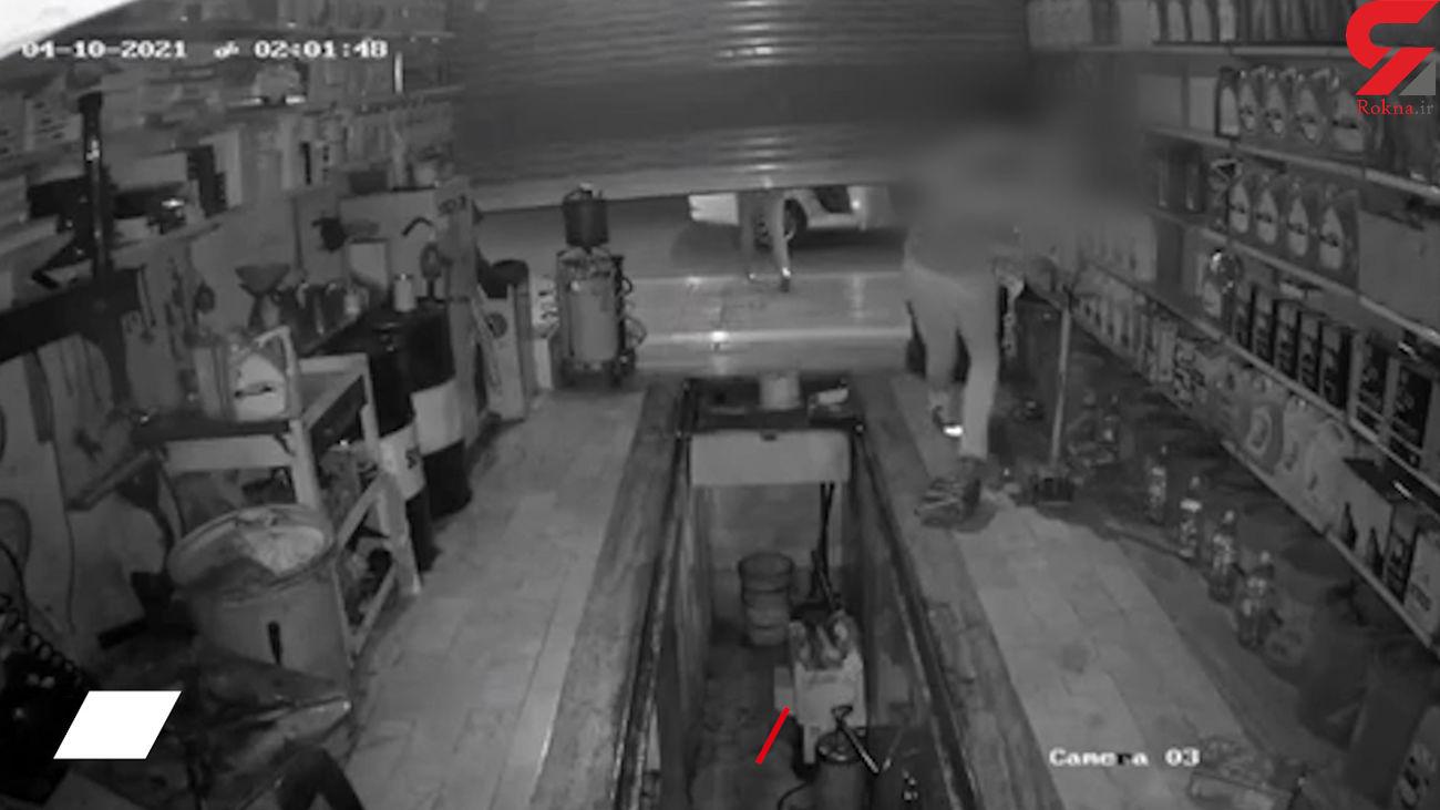 فیلم لحظه سرقت از یک تعویض روغنی در تهران / به هیچ چیز رحم نکردند