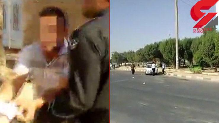فیلم لحظه حمله زشت 15 راننده تریلی به مأمور پلیس آبادان / فیلم عملیات دستگیری راننده های تریلی در مخفیگاه شان