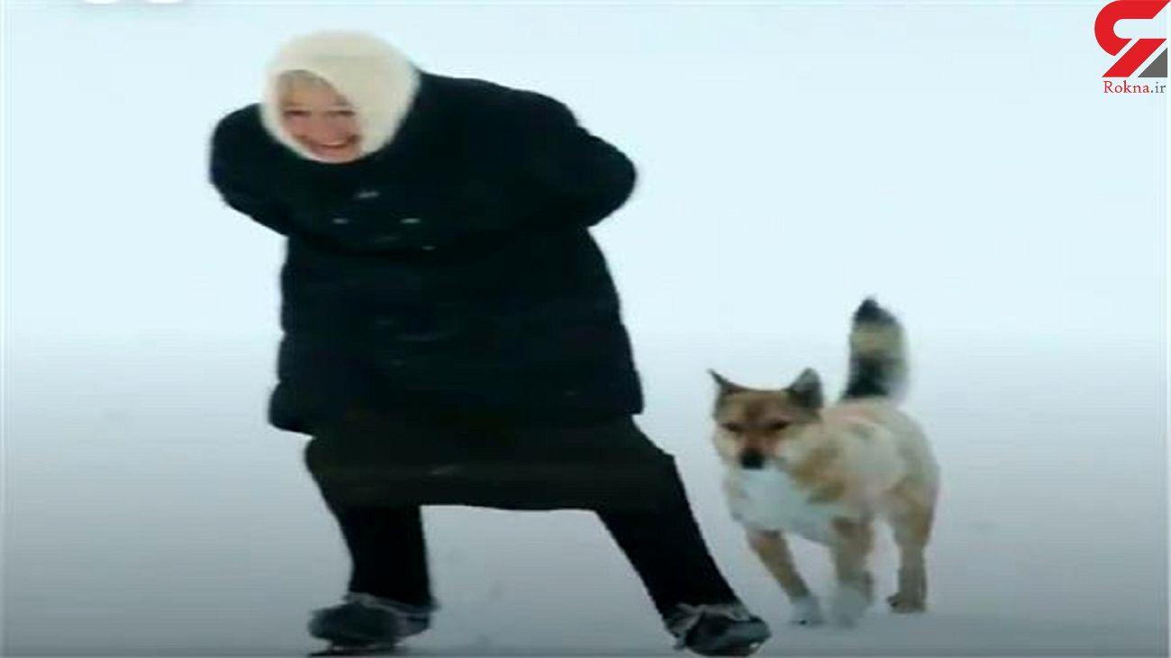مهارت پیرزن 80 ساله در اسکی سواری + فیلم