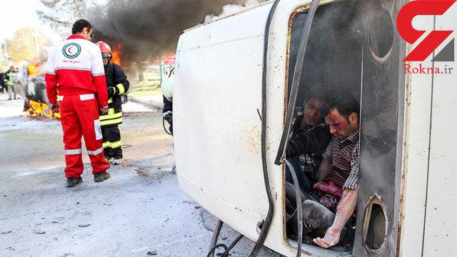 عکس وحشتناک از یک تصادف / مادر مرد و جنین داخل شکمش زنده ماند! + جزییات