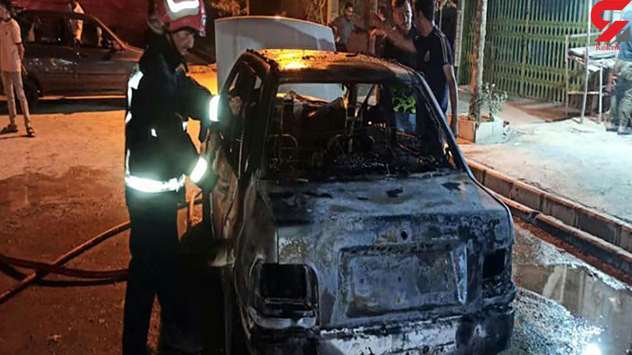 پراید در پمپ گاز خرم آباد شعله ور شد + عکس