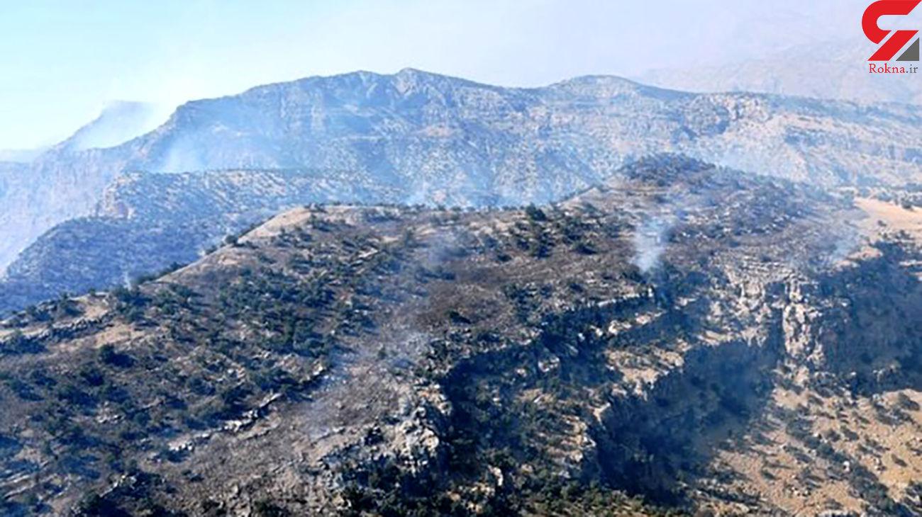 مهار آتش در ارتفاعات کوه لیتویه در حال انجام است