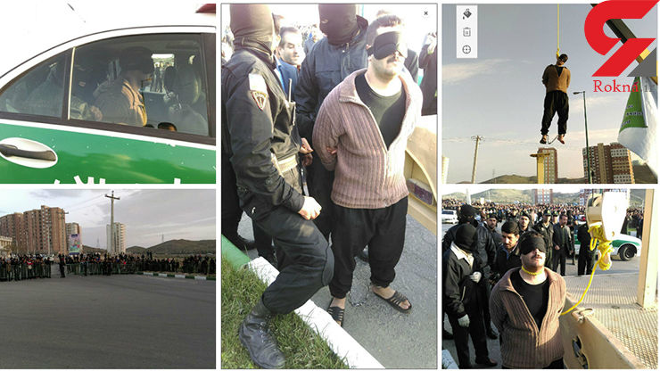 گزارش تصویری از اعدام قاتل اراک با طناب زرد در ملاعام + فیلم و عکس