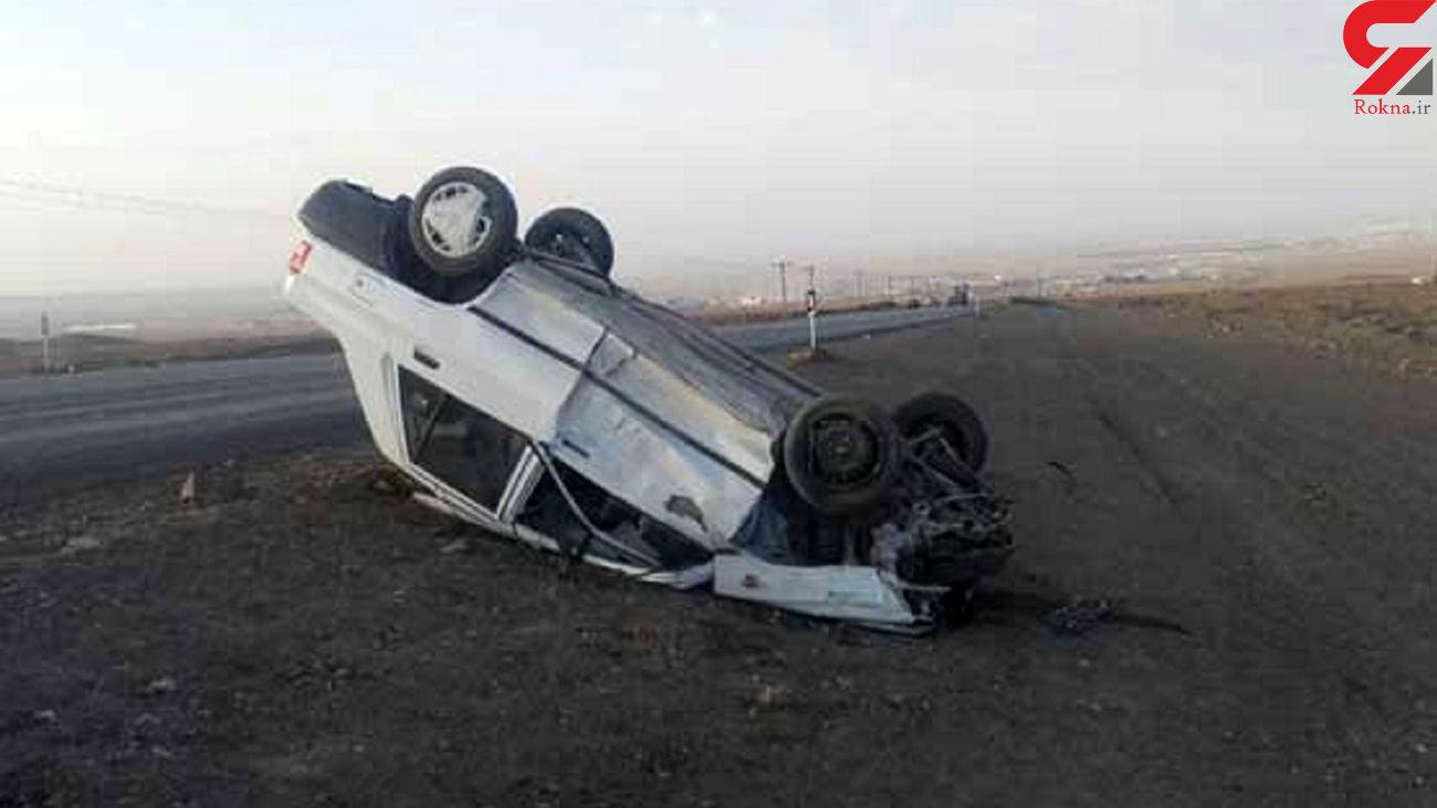 واژگونی پراید با 3 مصدوم در تهران