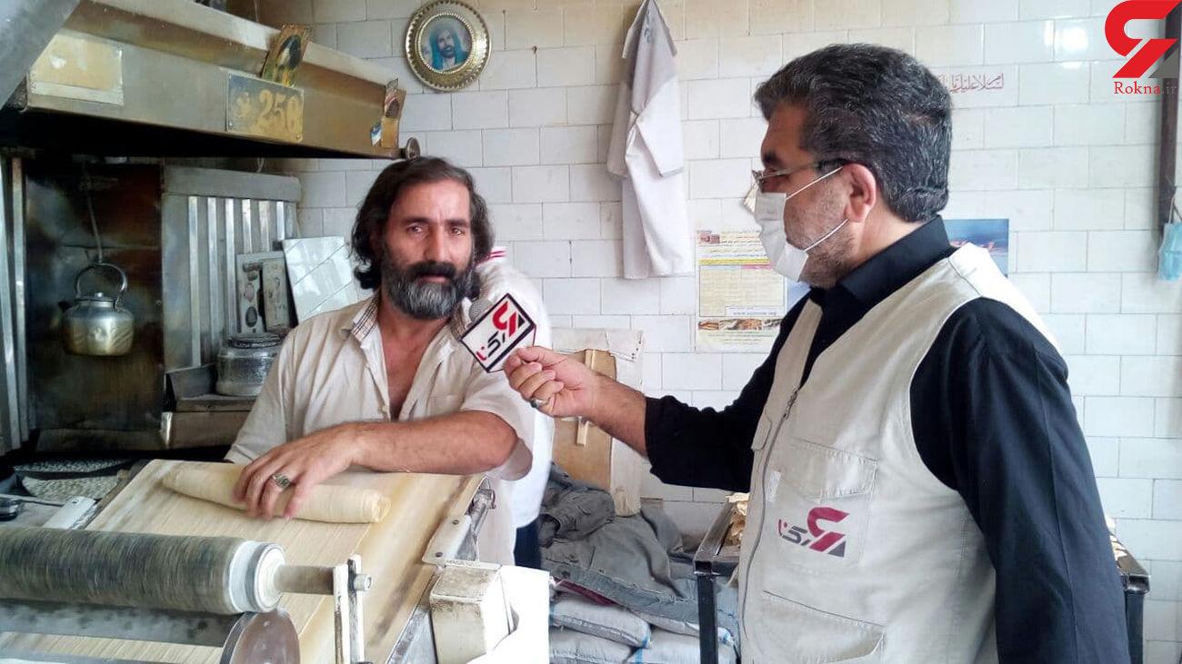 پخت نان رایگان وتوزیع آن در بین مردم توسط یکی از نانوایان هشترودی