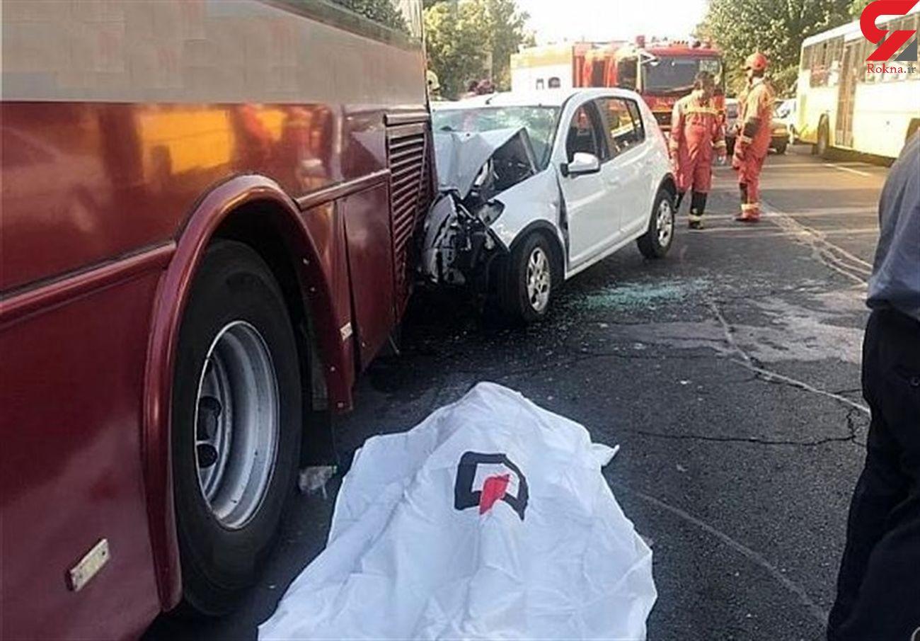 مرگ راننده ساندرو در تصادف با اتوبوس در شمال تهران+ تصاویر
