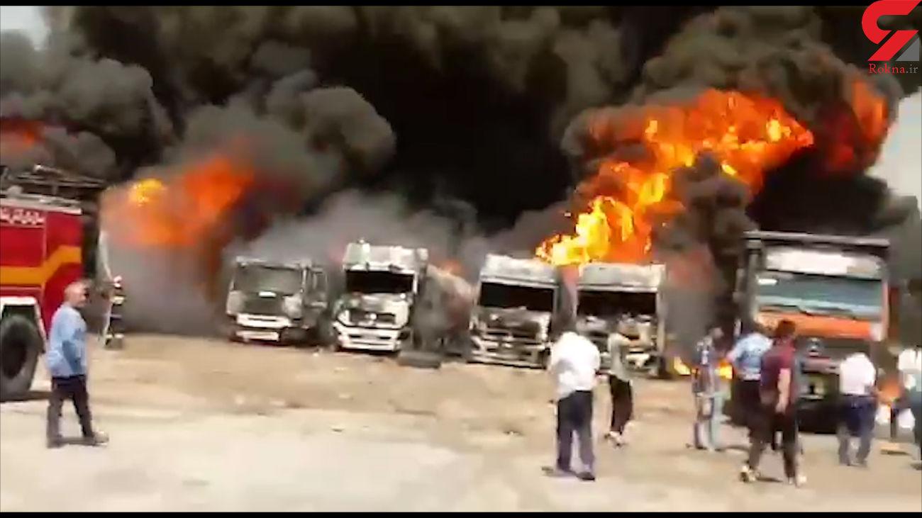 انفجار بزرگ در کرمانشاه  / 6 تریلی پر از بنزین منفجر شدند + فیلم