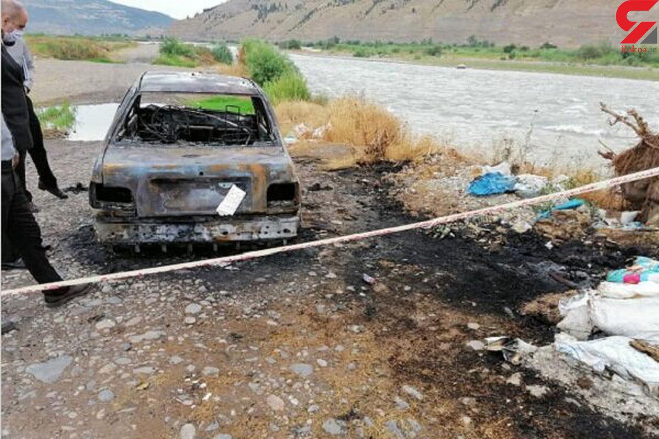 عکس تلخ / خودکشی هولناک مرد تهرانی و پسر خردسالش داخل پراید آتشین