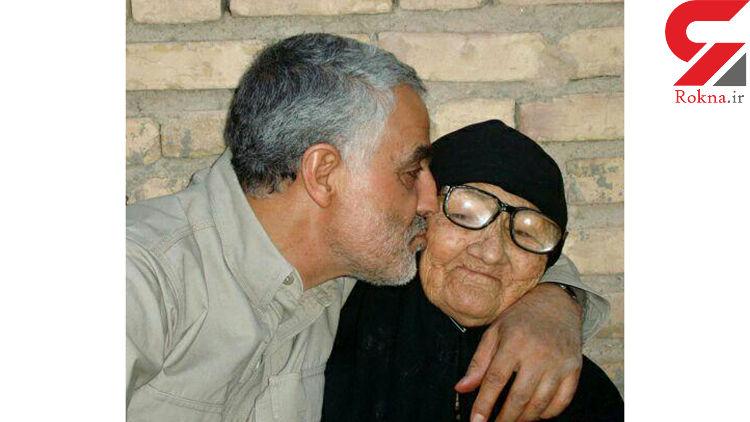 عکس دیده نشده از سردار سلیمانی در آغوش مادر + تصاویر