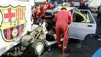 فیلم / برخورد مرگبار پراید با اتوبوس پارک شده در حاشیه جاده مشهد / 2 تن کشته و 2 تن مجروح شدند+ تصاویر