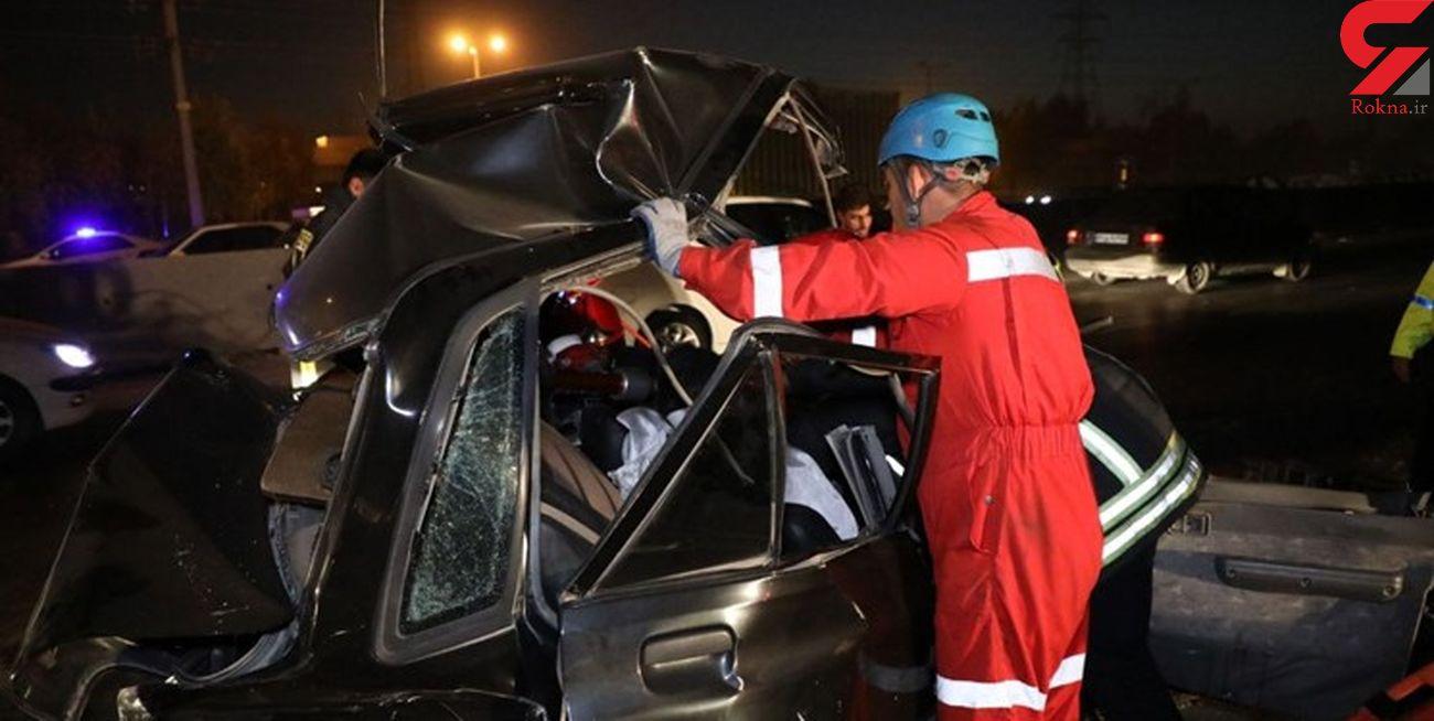 تصادف زنجیرهای 11 خودرو در جاده مشهد به گلبهار+ عکس ها
