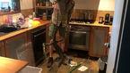 مارمولک وحشتناک زیر فر آشپزخانه جا خوش کرده بود + فیلم باورنکردنی