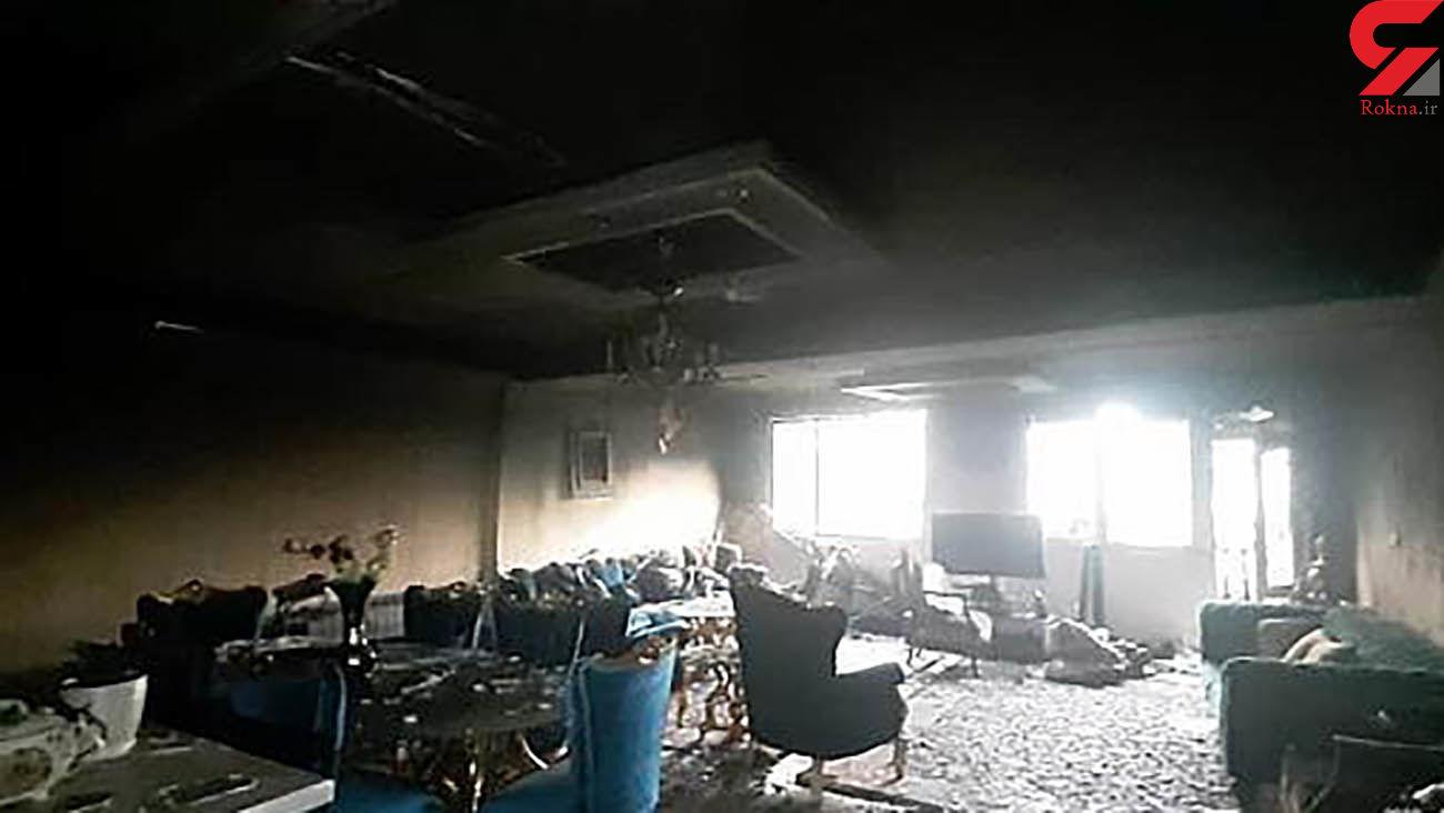عکس های آتش سوزی کارگاه مبل در خیابان هنگام تهران