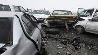 عجیب ترین تصادف زنجیره ای در دامغان / 10خودرو له شدند + عکس