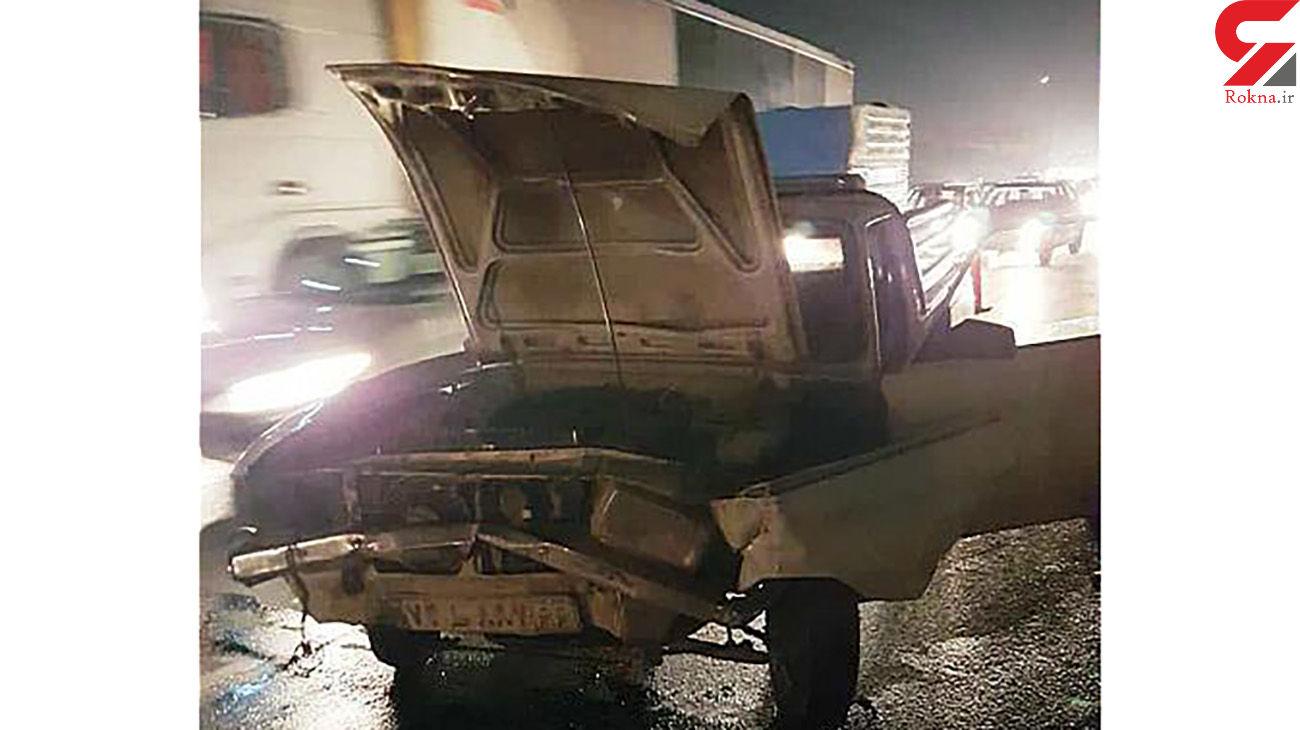 تصادف خونین پژو 206 با وانت پیکان در بزرگراه آزادگان