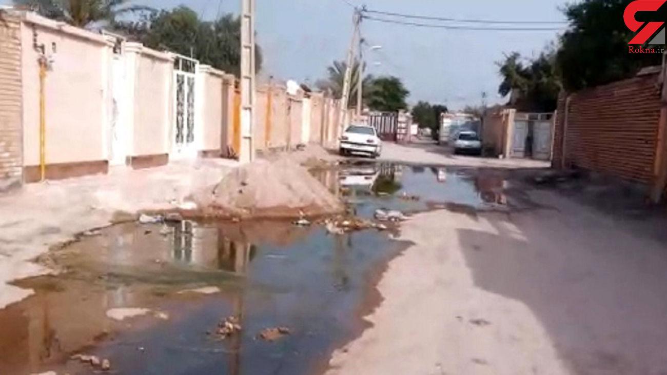 وضعیت اسفبار فاضلاب در کوی معین خرمشهر + فیلم