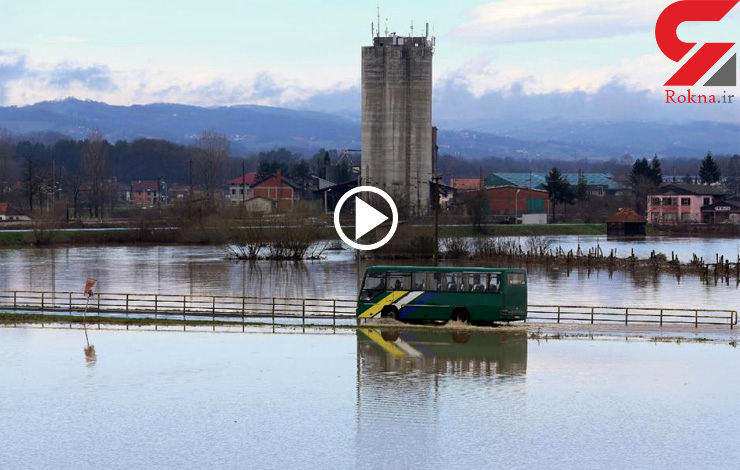 وضعیت اضطراری در سیل صربستان + فیلم