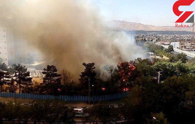 مهار آتش سوزی دانشگاه آزاد واحد تهران شمال/ 1500 متر فضای سبز سوخت