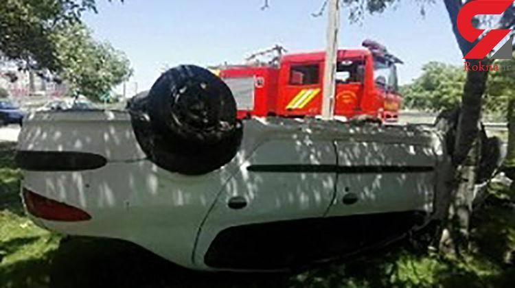 بی احتیاطی راننده خودرو پژو ۲۰۶ در قزوین حادثه آفرید