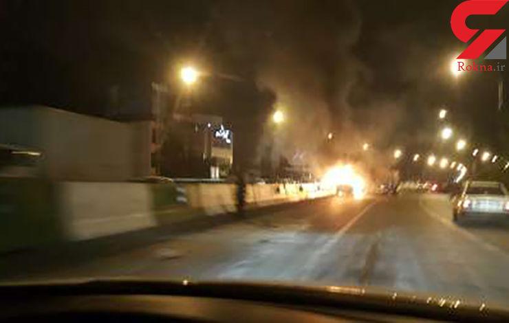فیلم آتش سوزی یک خودروی سواری  دوو روی پل سید خندان + تصاویر (مستند های ویژه)