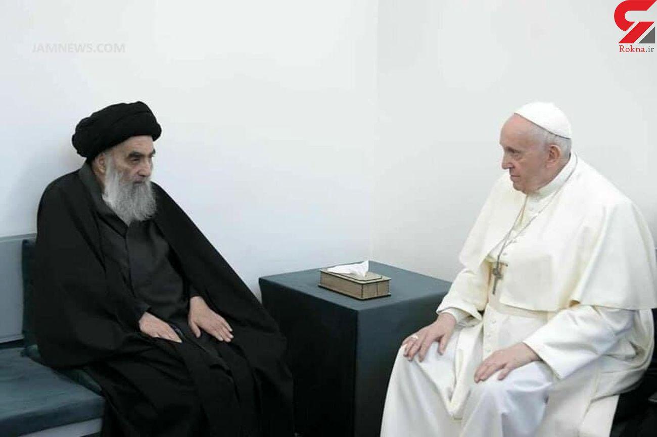 دیدار تاریخی آیت الله سیستانی و پاپ در نجف اشرف+ فیلم و عکس