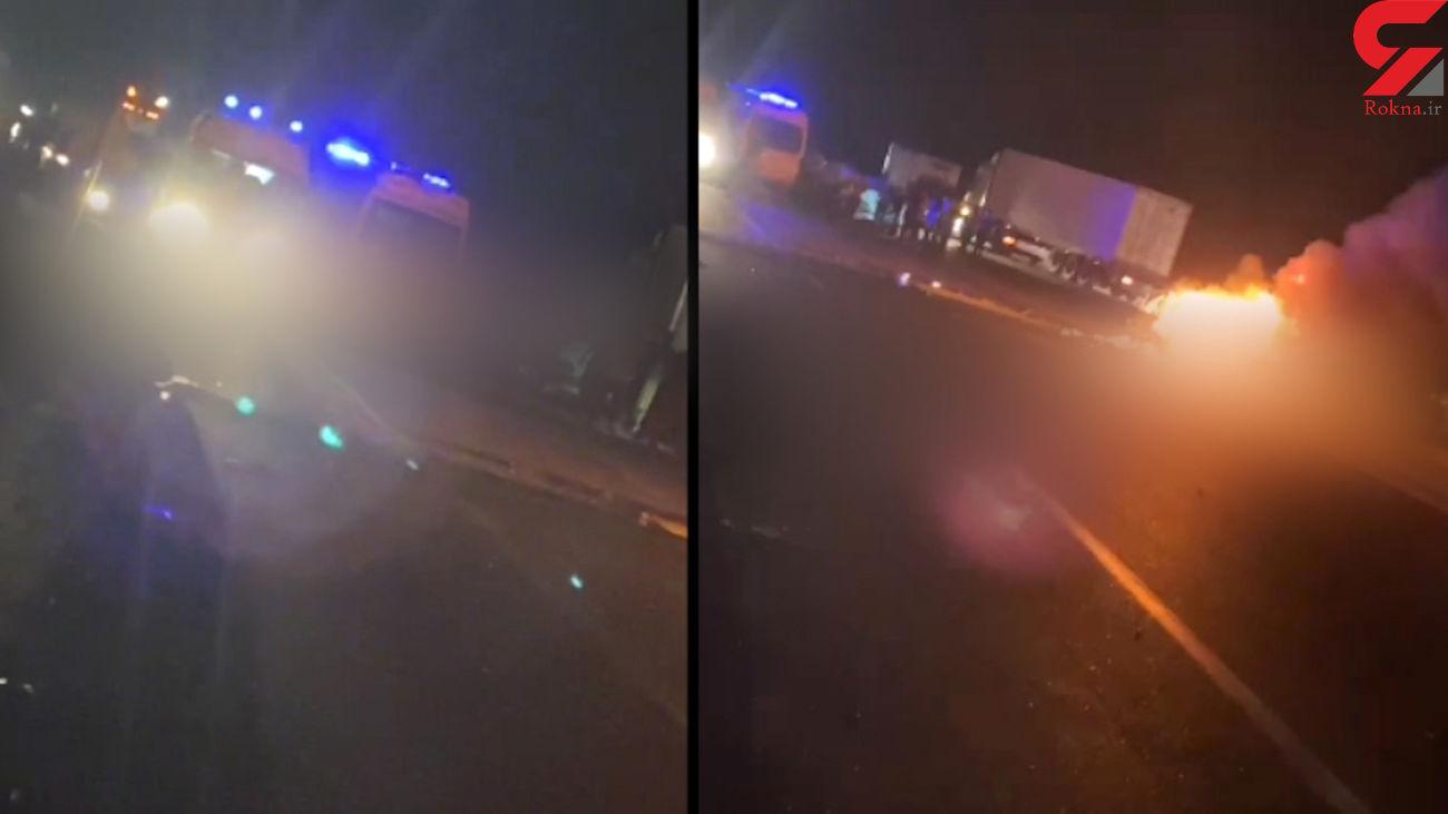 فیلم زنده زنده سوختن 6 مسافر در تصادف تیبا و پژو / زاهدان