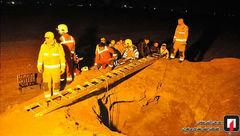 سقوط مرد جوانی به چاه قنات در بیابان های شرق تهران + عکس