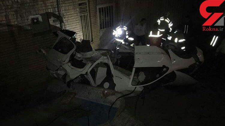 عجیب ترین عکس از تصادف در مرکز تهران / ماشین قابل شناسایی نبود! + عکس