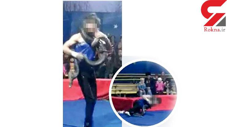 مار سیرک مربی روس خود را مقابل چشمان تماشاگران به طرز وحشتناکی کشت + عکس