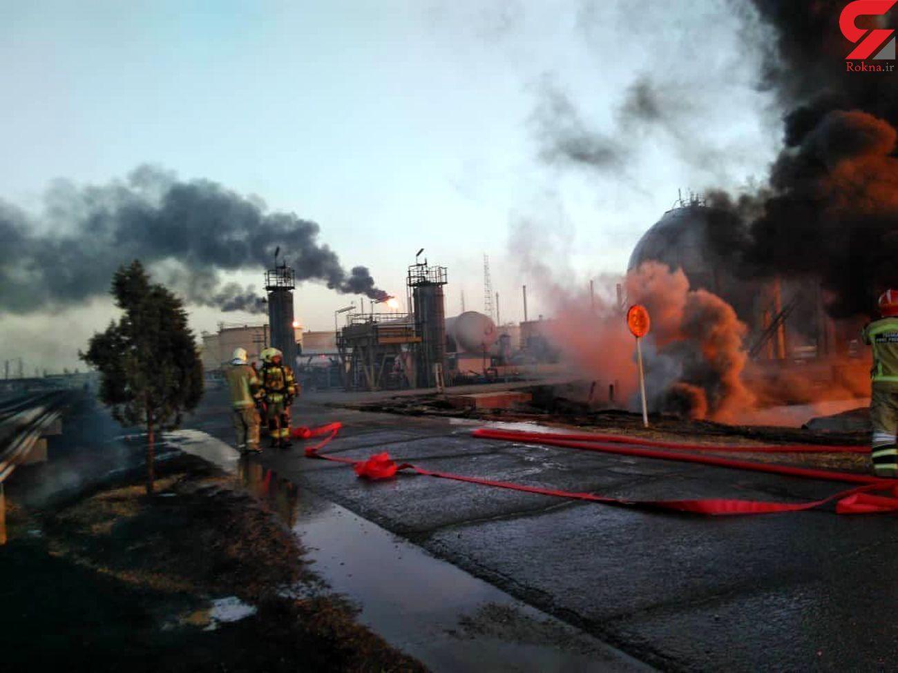 احتمال خرابکاری در حادثه آتش سوزی پالایشگاه تهران تکذیب شد +عکس