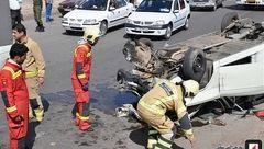 واژگونی پیکان وانت در جاده خاوران + عکس