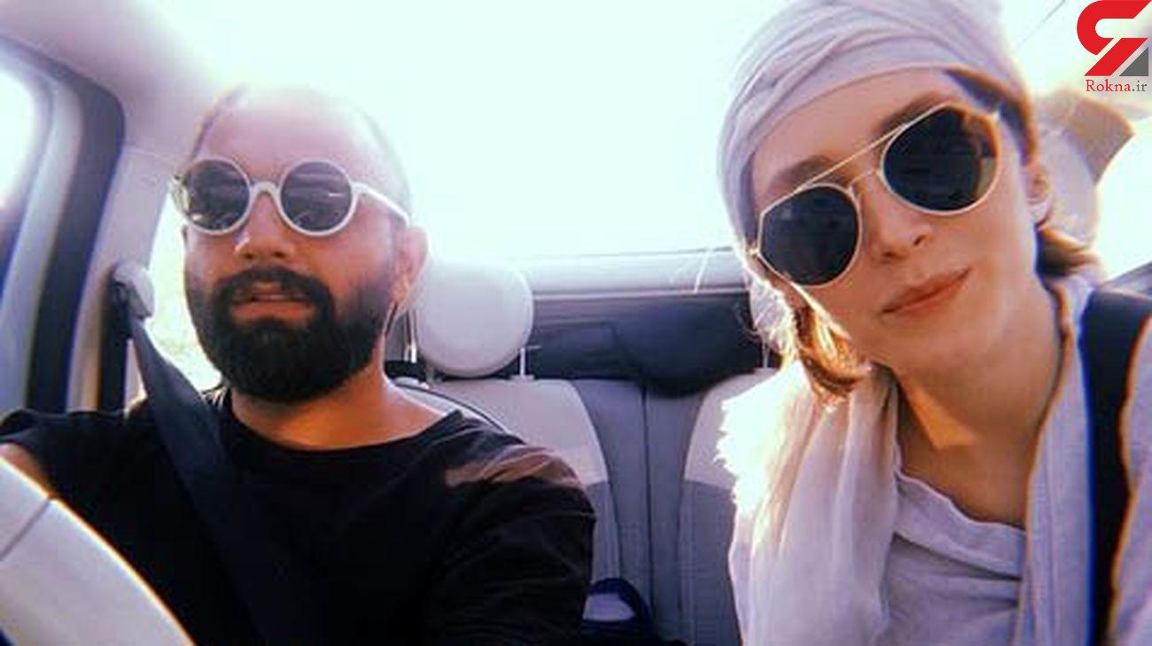 ماشین سواری فرشته حسینی و صابر ابر