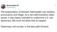 Sanders terms Fakhrizadeh terror illegal, provocative