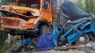 11 کشته و مجروح در تصادف کامیون با دو خودرو سواری