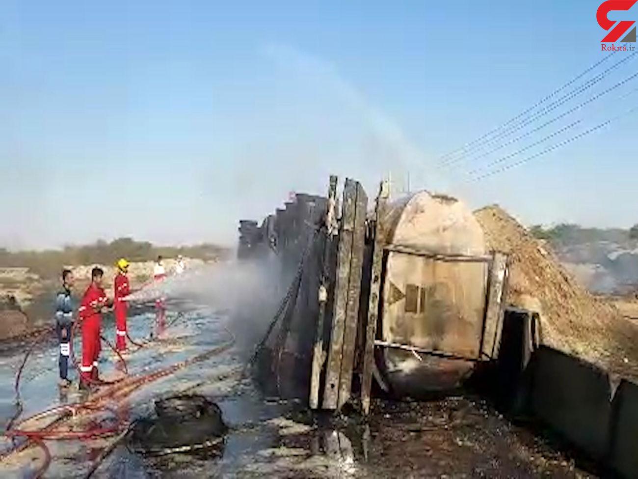 زنده زنده سوختن 3 مرد در آتش سوزی تانکر سوخت / در بندرعباس رخ داد + فیلم