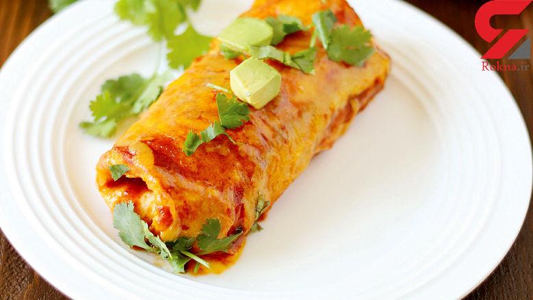 پیشنهاد یک غذاخوشمزه با اسمی عجیب ولی طرز تهیه ساده /اینچیلادای مرغ و پنیر + طرز تهیه