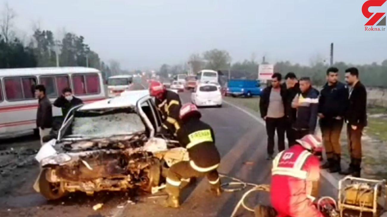 تصادف مرگبار مینی بوس و پراید در صبح سیزده بدر 1400 / در رشت رخ داد + عکس و فیلم