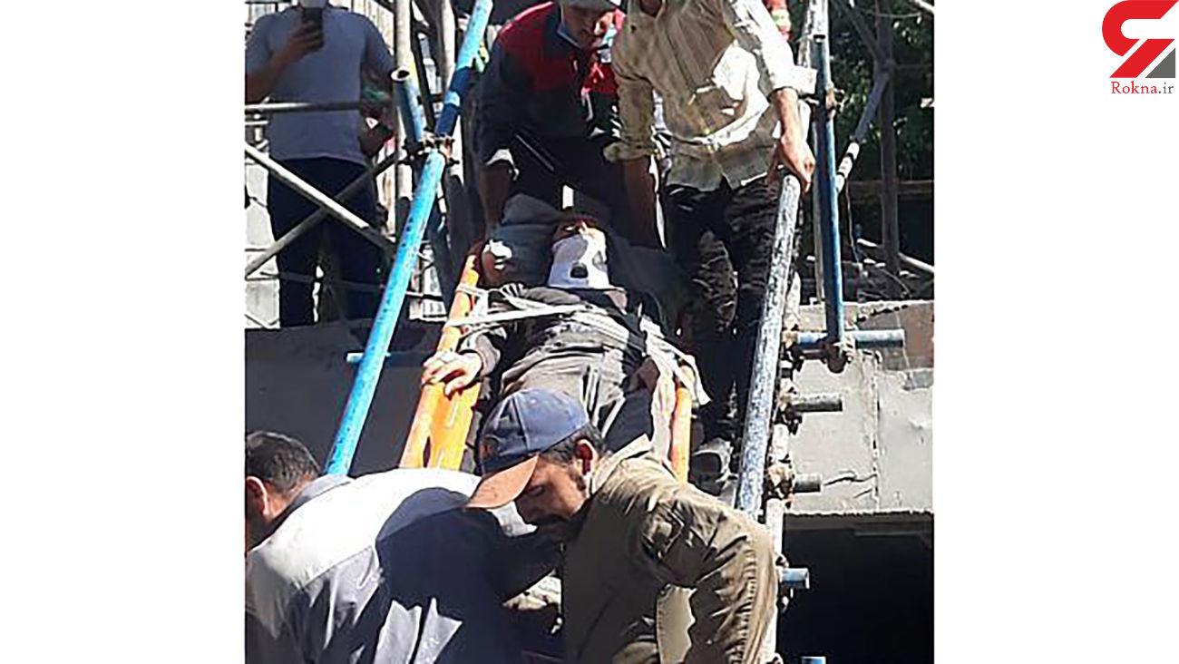 سقوط کارگر ساختمانی از ارتفاع در سعادت آباد + عکس